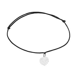 Bransoleta srebrna monstera na czarnym sznurku A6 07273263-01 próba 925