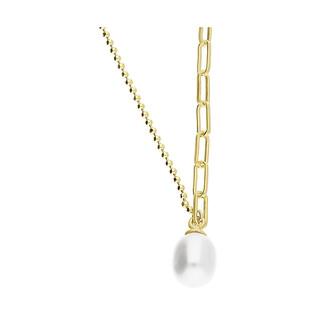 Naszyjnik pozłacany z owalną perłą/anker+bead A6 07486306-00 próba 925