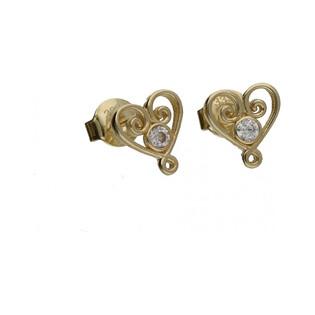 Kolczyki złote serduszka ażurowe nr MZ ES192-CZ Au 333 Sezam - 1