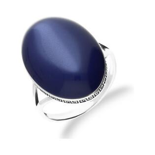 Pierścionek srebrny wzór grecki z niebieskim uleksytem syntetycznym nr SZ SZ112 Sezam - 1