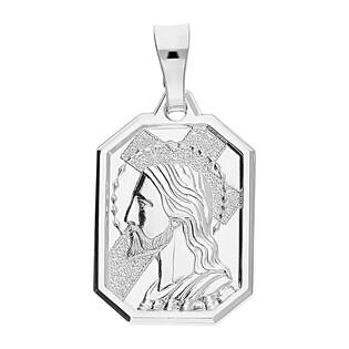 Medalik srebrny Pan Jezus z krzyżem w prostokącie DJ M064 próba 925