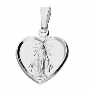 Medalik srebrny Matka Boska Niepokalane serce PW 205 rod próba 925
