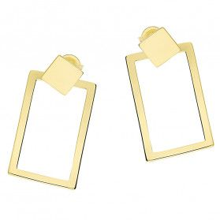Kolczyki pozłacane kwadrat blask i pusty prostokąt/sztyft A6 07180183-00 próba 925