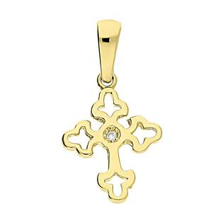 Krzyżyk złoty falbanka z cyrkonią CA S7KU17000022 próba 585