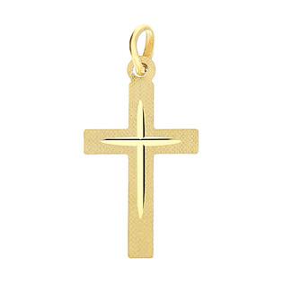 Krzyżyk złoty gładki ramiona kwadratowe CB C-476 próba 585