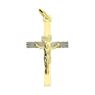 Krzyżyk złoty z wizerunkiem grawerowane kwadratowe ramiona CB C-527 próba 585