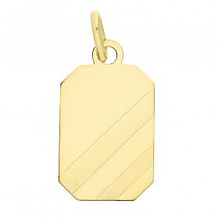 Zawieszka złota prostokątna blaszka z ścinanymi paskami CB M-0878 próba 585