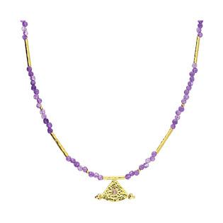 Naszyjnik pozłacany z fioletowymi agatami i trójkątem EM13-3 fioletowy próba 925