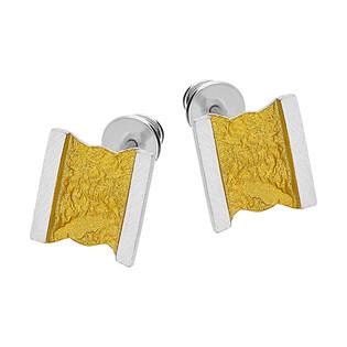 Komplet srebrne kolczyki i zawieszka satynowy złoty kwadrat EM19-3 próba 925