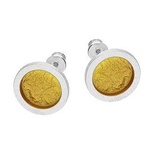 Komplet srebrne kolczyki i zawieszka satynowe złote kółko/sztyft EM20-3 próba 925