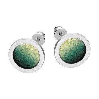 Komplet srebrne kolczyki i zawieszka satynowe zielono-złote kółko/sztyft EM20-5 próba 925
