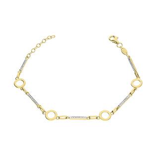 Bransoleta złota kółka i pałki z cyrkoniami GS P-YB-X0B190187-CZ próba 585
