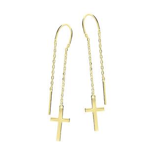 Kolczyki pozlacane krzyż gładki/przeciągane HS855 GOLD próba 925