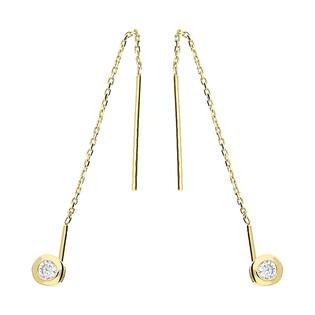 Kolczyki złote cyrkonia 4mm w okrągłej oprawie/przeciągane LP 34U20-DE0031-Y-CZ próba 585