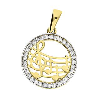 Zawieszka złota klucz wiolinowy i nuty na pięciolini ramka cyrk nr MZ T23-P-1356-YW-CZ próba 585