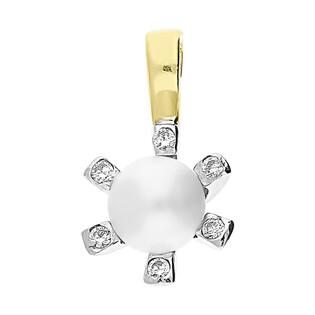 Zawieszka złota z białą perłą i cyrkoniami OP 023MAR próba 585
