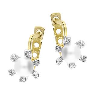 Kolczyki złote z białą perłą i cyrkoniami/ang.zap. OP 023MAR próba 585