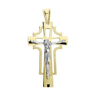 Krzyżyk złoty ażurowy z wizerunkiem S3 H-012 próba 585