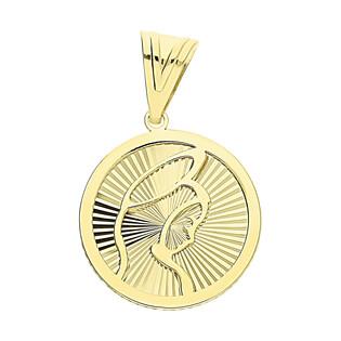 Medalik złoty MB główka i grawerowane promienie S3 MYP-01 próba 375