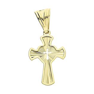 Krzyżyk złoty grawerowany z wyciętym krzyżykiem w sercu S3 MYP-45 próba 375