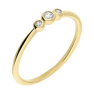 Pierścionek złoty z cyrkoniami w okrąłych oprawach S3 YZ017 próba 375