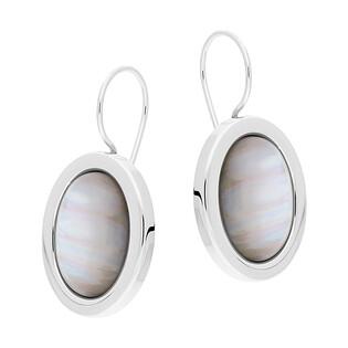 Kolczyki owalny uleksyt szary w srebrnym obramowaniu SZ260 uleksyt szary perła próba 925
