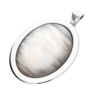 Zawieszka owalna uleksyt szary w srebrnym obramowaniu SZ260 uleksyt szary perła próba 925