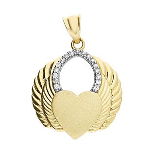 Zawieszka złota serce matowe w skrzydłach z cyrkoniami GS P-YB-PDC182217-CZ próba 375