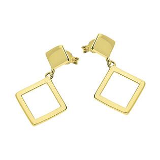 Kolczyki złote kwadrat pusty wiszący/sztyft GS Y-EDE183136 próba 375