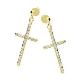 Kolczyki pozłacane krzyżyk z cyrkoniami/sztyft HS1217 GOLD próba 925