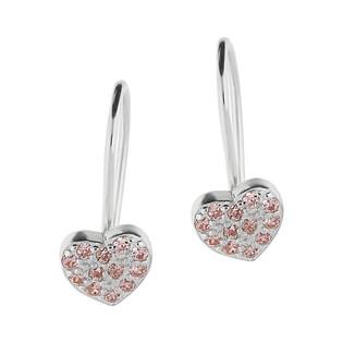 Kolczyki serce z różowymi cyrkoniami /bigiel HS1080 różowy próba 925