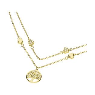 Naszyjnik podwójny pozłacany drzewko szczęśca i serca/anker HS1124 GOLD próba 925