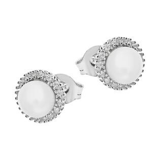Kolczyki biała perła z cyrkoniami zewnątrz/sztyft HS1194 próba 925