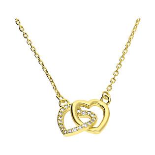 Naszyjnik pozłacany klanówka serce blask i serce z cyrkoniami/anker HS1211-1 GOLD próba 925