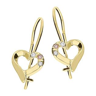 Kolczyki złote serce ramka z trzema cyrkoniami nr KM4 próba 585
