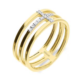 Pierścionek złoty krzyżyk z cyrkonii na szynie nr KM678 próba 585