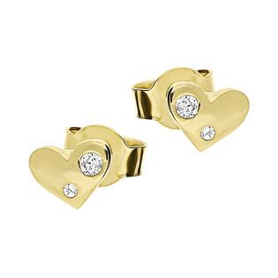 Kolczyki złote serca z cyrkoniami nr KM582 próba 585