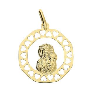 Medalik złoty Częstochowska koło obłe z ażurowymi sercami KM663 próba 333