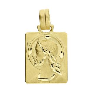 Medalik złoty blaszka z głową Pana Jezusa KM665 próba 585
