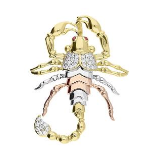 Zawieszka złota Zodiak skorpion trójkolorowa z cyrkoniami nr KM667 próba 585