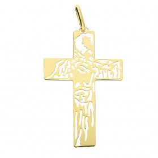 Krzyżyk złoty z wygrawerowanym w środku wizerunkiem KM674 próba 585