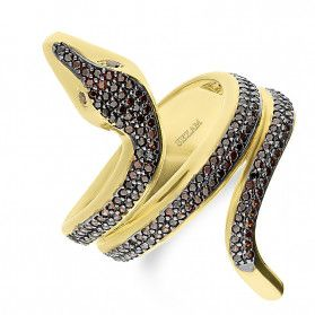 Pierścionek złoty wąż z cyrkonii czarnej nr KM676 próba 585