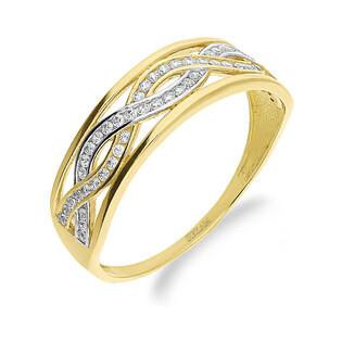 Pierścionek złoty cyrkonia infinity w szynie nr KM675 próba 585