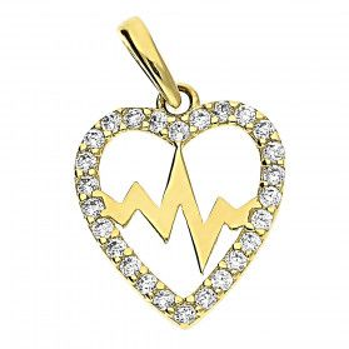 Serduszko złote puls w sercu z cyrkoniami LP 13U20-DP0080-Y-CZ próba 585