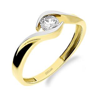 Pierścionek złoty cyrkonia otulona szyną LP 31U06-DSR0080-CZ próba 375