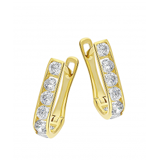 Kolczyki złote dla dziewczynki przecinki z cyrkoniami MZ T5-A41 próba 585