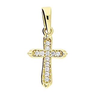 Krzyżyk złoty z cyrkoniami ramiona w szpic MZ T23-P-1332-YW-CZ próba 375