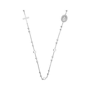 Naszyjnik srebrny różaniec paciorki gładkie plus cyrkonie nr TA ZIR0456 próba 925
