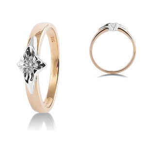 Dwukolorowy pierścionek zaręczynowy UNICO z diamentem AW 39805 YW-0,18 próba 585 UNICO