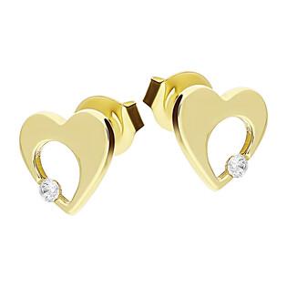 Kolczyki złote serce z dziurką i cyrkonią MZ T5-ES-3-CZ próba 375